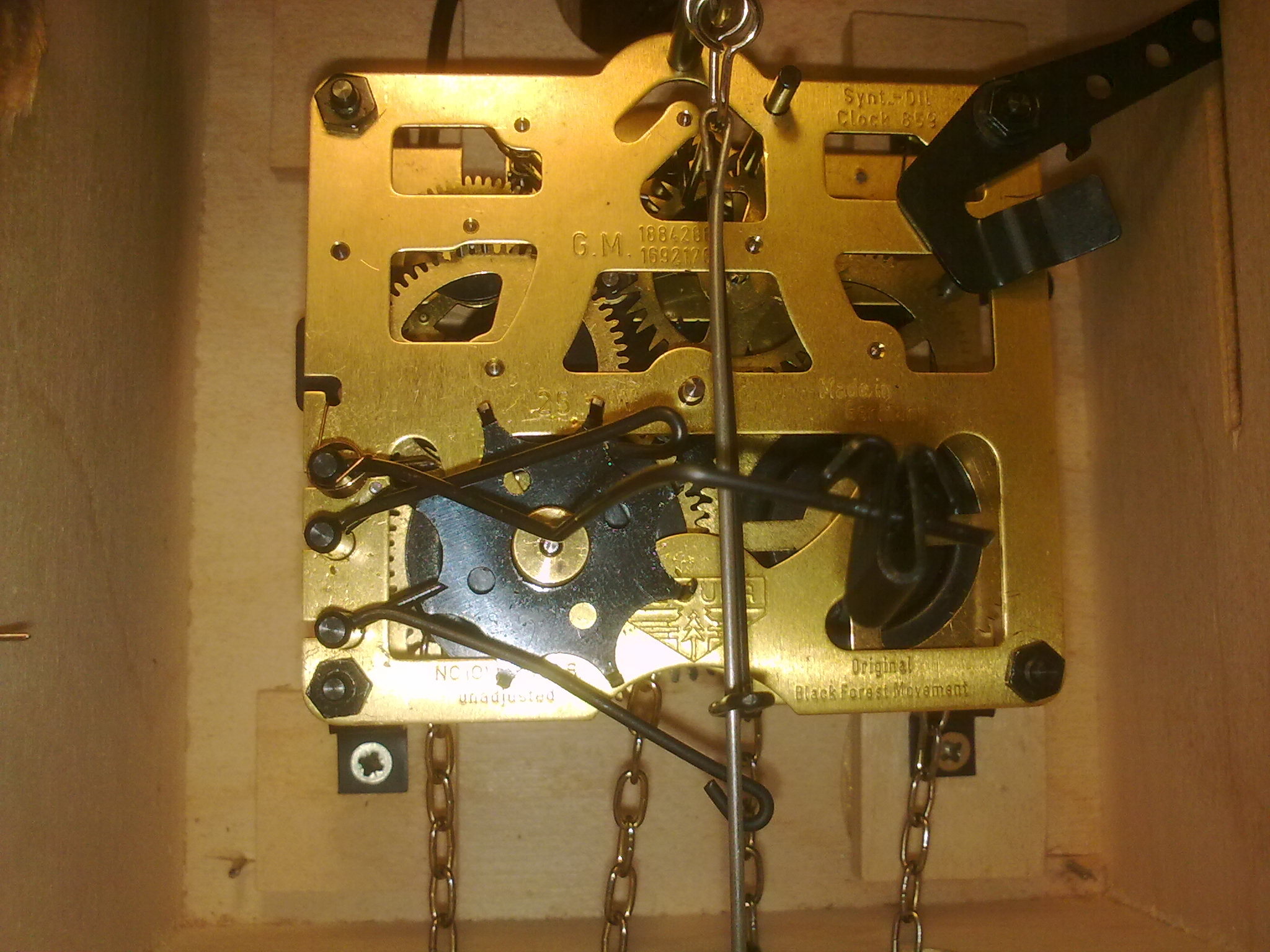 meccanismo interno orologio a cucu
